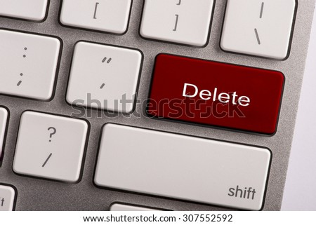keyboard button with word delete - stock photo