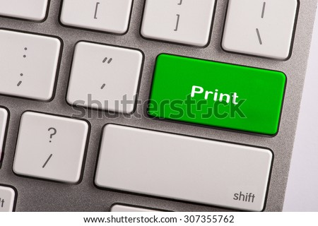 keyboard button with word print - stock photo