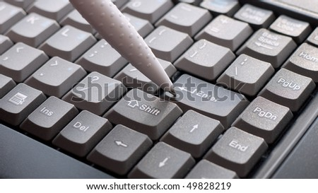 Keyboard Computer with pen - stock photo