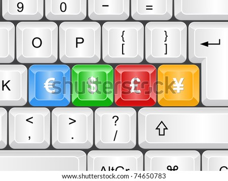 Keyboard - Currency - stock photo