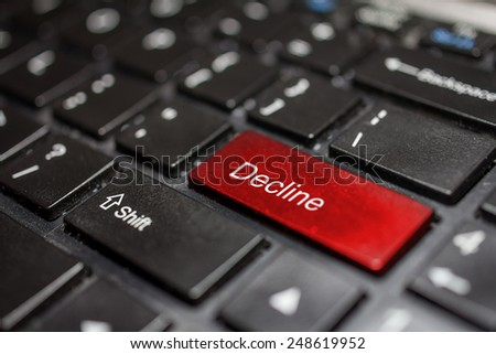 Keyboard - decline key Contact us, business background