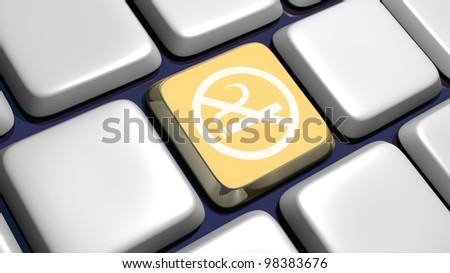 Keyboard (detail) with no smoking key - 3d made - stock photo