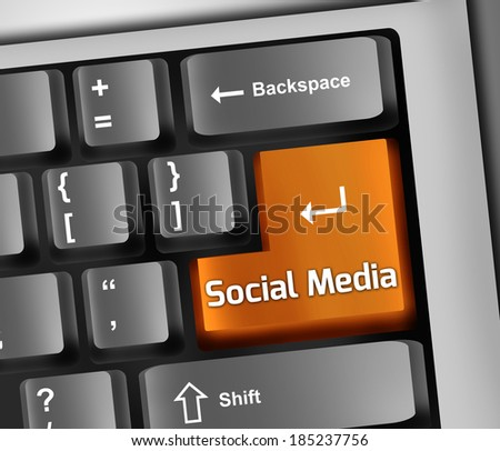 Keyboard Illustration with Social Media wording - stock photo