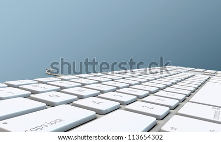 keyboard isolated on blue background - stock photo