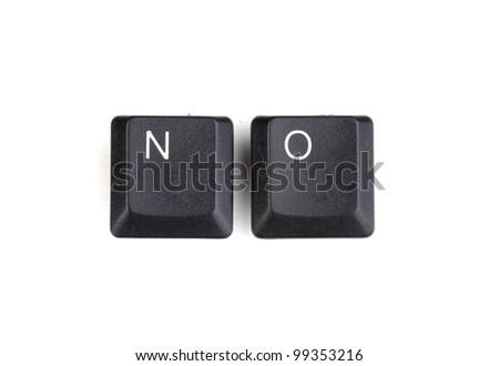 Keyboard keys saying no isolated on white - stock photo