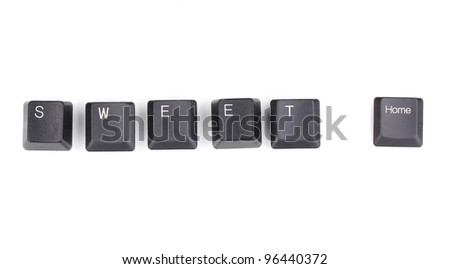 Keyboard keys saying sweet home isolated on white