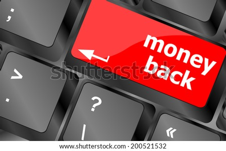 Keyboard keys with money back text on button