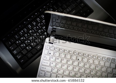 Keyboard of laptop and net-book - stock photo
