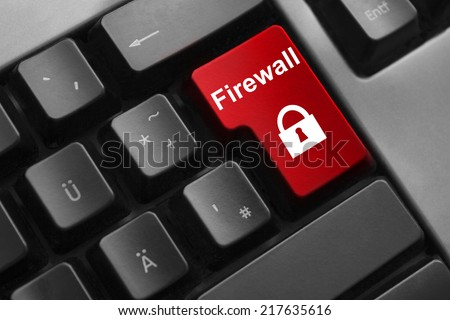 keyboard red button firewall security lock symbol