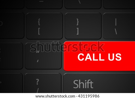 Keyboard red call us button, 3d render - stock photo