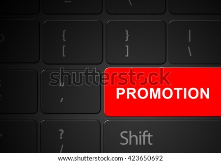 Keyboard red promotion button, 3d render - stock photo