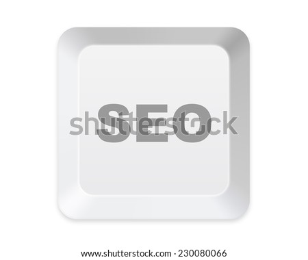 keyboard SEO button isolated on white - stock photo