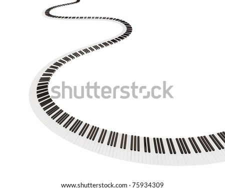 Keyboard shape of way. Isolated on white background. 3d rendered. - stock photo