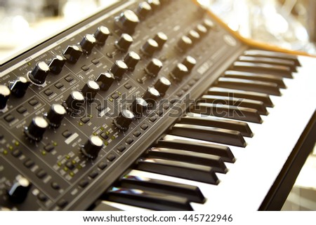 Keyboard synthesizer on stage before the concert