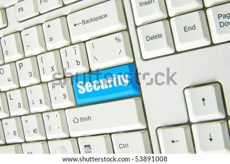 Keyboard with blue button of connect to security