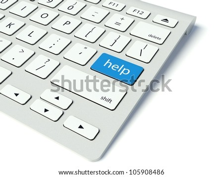 Keyboard with blue Help button, service concept