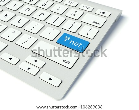 Keyboard with blue Net button, internet concept