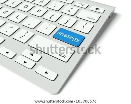 Keyboard with blue Strategy button, business concept