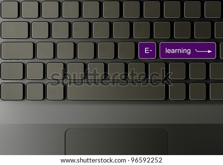 Keyboard with Burble e-learning button, education creative concept . - stock photo