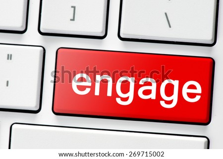 Keyboard with button engage.Computer white keyboard with red button engage - stock photo