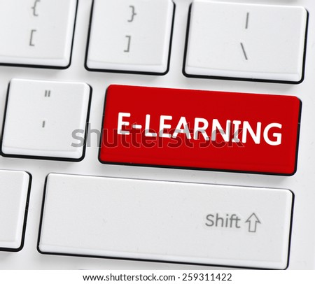 Keyboard with e-learning button. Computer keyboard with e-learning buton. - stock photo