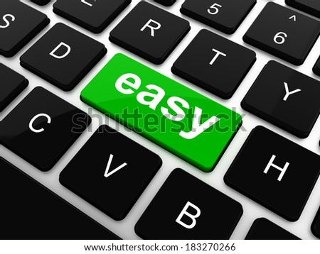keyboard with easy button,  - stock photo