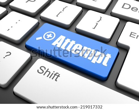 Keyboard with enter button, attempt word on it - stock photo