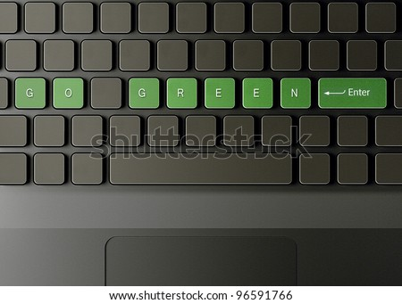 Keyboard with go green button, ecology concept. - stock photo