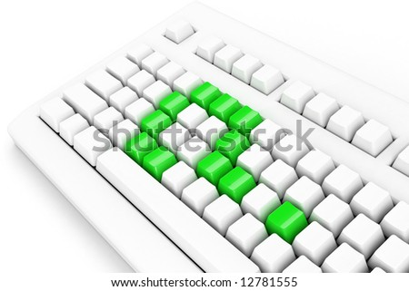 keyboard with green question-mark - stock photo