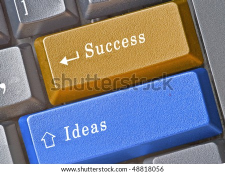 Keyboard with hot keys for success and ideas