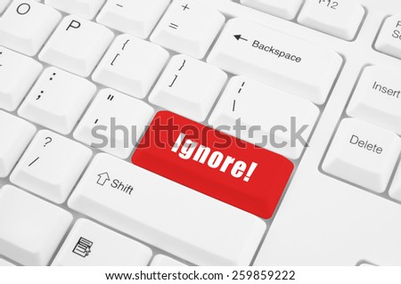 Keyboard with ignore button  - stock photo