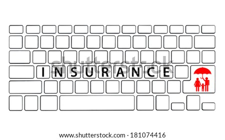 Keyboard with Insurance wording, Insurance concept - stock photo
