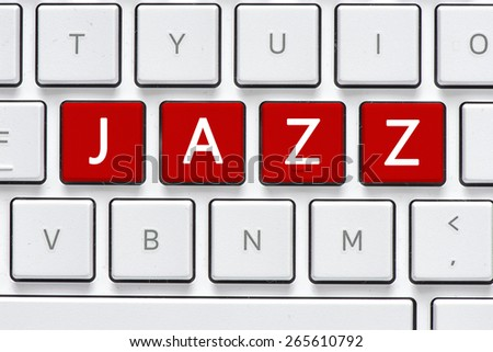 Keyboard with jazz buton. Computer white keyboard with jazz button - stock photo