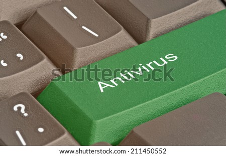 Keyboard with key for antivirus - stock photo