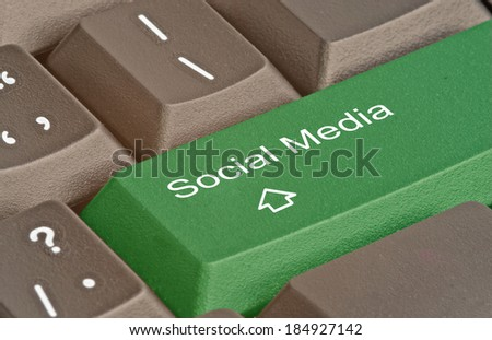 Keyboard with key for social media