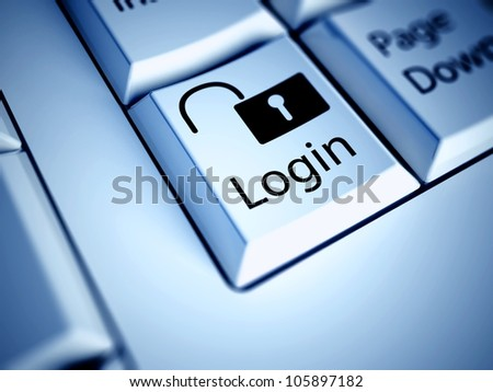 Keyboard with Login button, internet concept - stock photo
