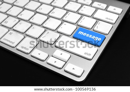 keyboard with message button - stock photo