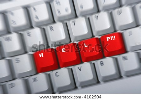 Keyboard with red keys HELP next to each other. Zoom blur to intensify the concept. White letters - stock photo