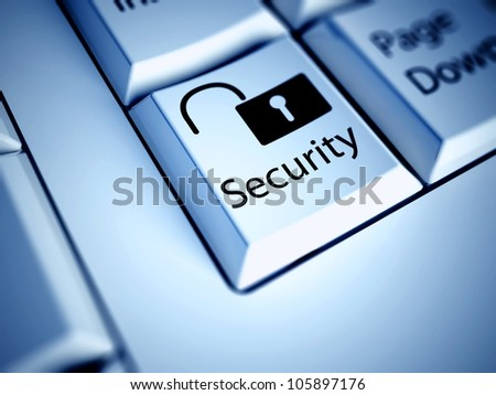 Keyboard with Security button, internet concept - stock photo