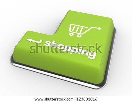 Keyboard with Shopping button. Internet concept. 3d render - stock photo