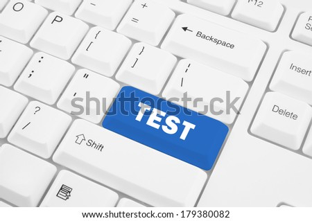Keyboard with test button - stock photo