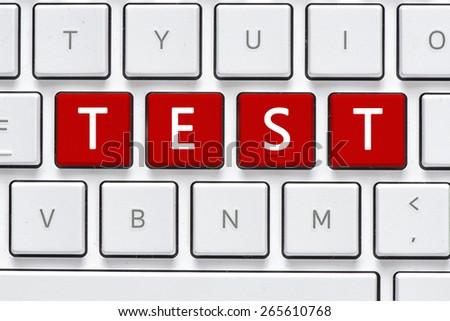 Keyboard test button computer white keyboard stock photo royalty keyboard with test button computer white keyboard with test button stopboris Images