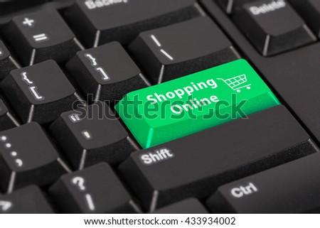 Keyboard with the word Shopping online on green button.