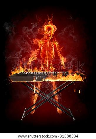 Keyboardist Series of fiery illustrations - stock photo