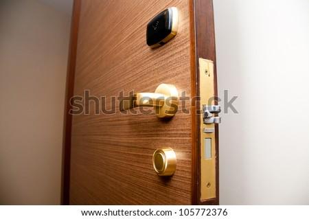 keycard door - stock photo