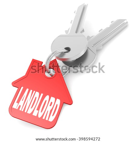 Keychain with landlord word image with hi-res rendered artwork that could be used for any graphic design. 3D rendering - stock photo
