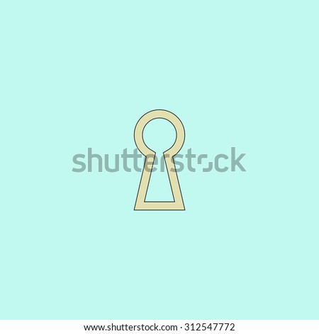 Keyhole. Flat simple line icon. Retro color modern illustration pictogram. Collection concept symbol for infographic project and logo - stock photo