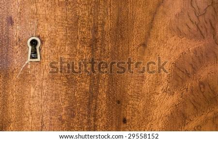 keyhole with wood - stock photo