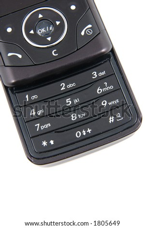 Keypad of black mobile phone, with copyspace