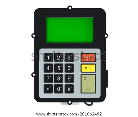 Keypad with green screen isolated on white background - stock photo